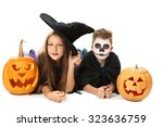 beautiful girl witch and little ... | Shutterstock . vector #323636759