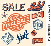 set of vintage shop sale labels.... | Shutterstock .eps vector #323641391