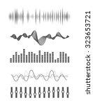 vector music sound waves set.... | Shutterstock .eps vector #323653721
