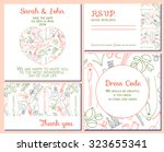 colorful and bright wedding set ... | Shutterstock .eps vector #323655341