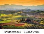 tuscany landscape at sunrise.... | Shutterstock . vector #323659901