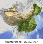 China  Shaded Relief Map....