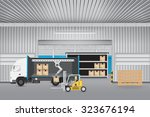 vector of forklift working with ... | Shutterstock .eps vector #323676194