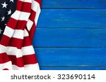 American Flag On Antique Rustic ...
