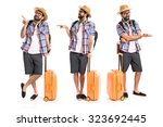 tourist pointing to the lateral  | Shutterstock . vector #323692445
