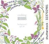 herbs round background | Shutterstock .eps vector #323702981