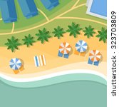 top view of a tropical beach.... | Shutterstock .eps vector #323703809