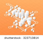 City isometric map, consisting of urban skyscrapers block pointer and driving directions