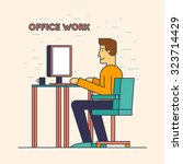 thin line office worker sitting ... | Shutterstock .eps vector #323714429