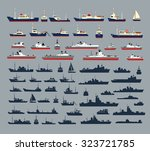 set of silhouettes of ships ... | Shutterstock .eps vector #323721785