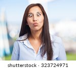 Woman Crossing Eyed Isolated