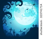 halloween poster and card.... | Shutterstock .eps vector #323741714