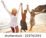 women fun beach girls power... | Shutterstock . vector #323761541