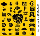 vector car parts set icons  | Shutterstock .eps vector #323767601