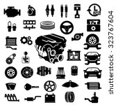 vector car parts set icons  | Shutterstock .eps vector #323767604