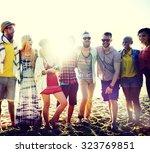 friendship bonding relaxation... | Shutterstock . vector #323769851