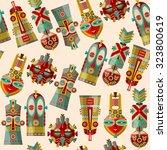 african masks of different... | Shutterstock .eps vector #323800619