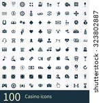 casino 100 icons universal set... | Shutterstock . vector #323802887