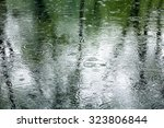 Rain Drops In A Puddle With...