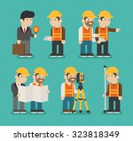 set of construction worker  ... | Shutterstock .eps vector #323818349