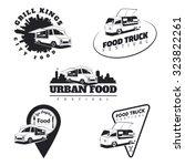 set of food truck emblems ... | Shutterstock .eps vector #323822261