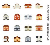 houses vector colorful flat... | Shutterstock .eps vector #323830739