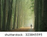 man alone walking in a foggy... | Shutterstock . vector #323845595