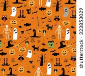 happy halloween vector print... | Shutterstock .eps vector #323853029