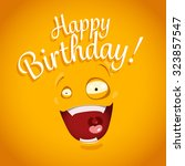happy birthday card with funny... | Shutterstock .eps vector #323857547