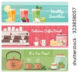 smoothies  coffee and tea ... | Shutterstock .eps vector #323858057