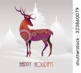 happy holidays greeting card... | Shutterstock .eps vector #323860079