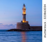 Lighthouse Of Chania At Night ...
