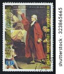 Small photo of EQUATORIAL GUINEA - CIRCA 1976: A stamp printed in GUINEA issued for the bicentenary of American Revolution shows the portrait of Patrick Henry, circa 1976.