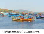 Several Fishing Boats With Red...
