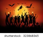 halloween party background   Shutterstock .eps vector #323868365