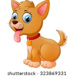 cartoon silly sitting dog with... | Shutterstock .eps vector #323869331