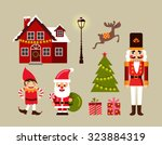christmas decoration icons ... | Shutterstock .eps vector #323884319