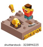 jackpot  gold found. isometric... | Shutterstock .eps vector #323894225