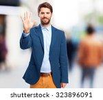 happy businessman number five... | Shutterstock . vector #323896091