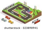 race track car. isometric... | Shutterstock .eps vector #323898941