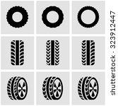 vector black tire icon set.  | Shutterstock .eps vector #323912447