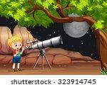 boy looking through telescope... | Shutterstock .eps vector #323914745