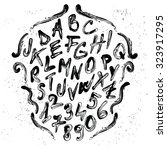 smudged brush vector alphabet... | Shutterstock .eps vector #323917295