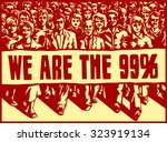 angry mob marching with... | Shutterstock .eps vector #323919134