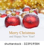christmas decorations on... | Shutterstock . vector #323919584
