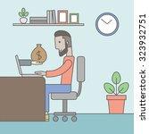 a caucasian hipster businessman ... | Shutterstock .eps vector #323932751