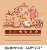 coffee items set. vector... | Shutterstock .eps vector #323940767