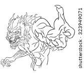 werewolf bust line art | Shutterstock . vector #323949071