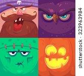 cartoon monster faces vector... | Shutterstock .eps vector #323963984