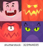 cartoon monster faces vector... | Shutterstock .eps vector #323964035
